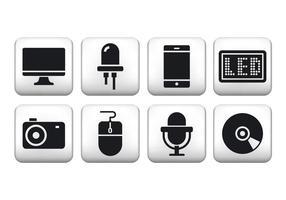 Ícones de botão de tecnologia livre vetor