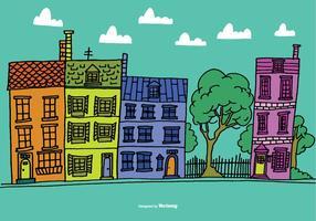 Vetores coloridos da casa da fileira