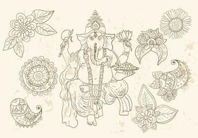 Símbolos de Ganesha e Mehndi vetor