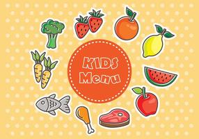 Vetores de comida do menu de crianças frescas