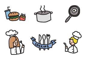Ícones de cozinhar crianças vetor
