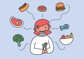Você pode comer o que quiser! Comida vetorial vetor