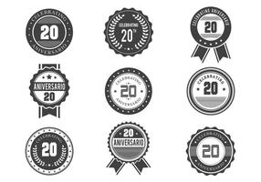 Design de emblemas retro gratuito do Anniversario vetor