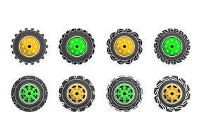 Vector colorido do ícone do pneu do trator colorido