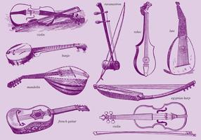 Instrumentos de cordas vetor