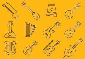 Ícones de instrumentos de cordas vetor