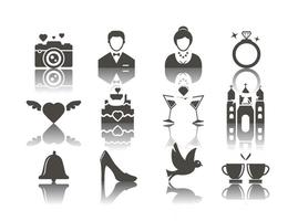 Vector de ícones de casamento grátis