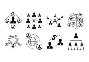 Vetor de ícones de rede de negócios grátis