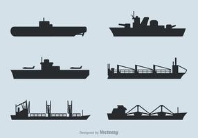 Conjunto de vetores de navios grátis em silhuetas