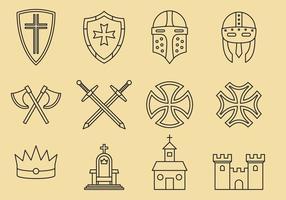 Ícones templários e medievais vetor