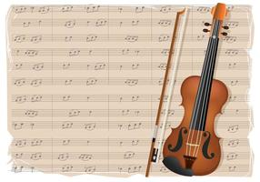 Violino com notas de fundo vetor