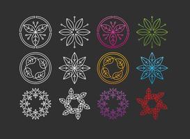 Logos de linha de folhas vetor