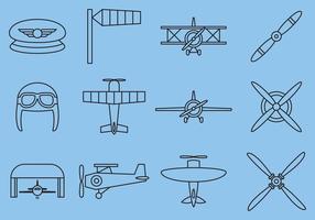 Ícones de linha de avião retro vetor
