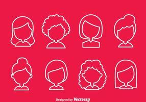 Ícones de estilo de cabelo simples da mulher