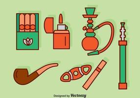 Ícones para fumar conjunto vetor