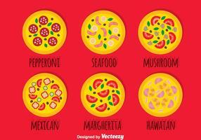 Coleção de coleção de pizza vetor