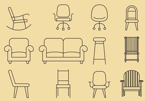 Ícones de linha de cadeira vetor