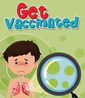 menino com coronavírus sendo vacinado vetor