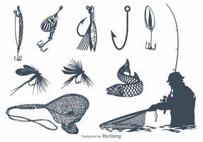 Equipamento de pesca de vetores