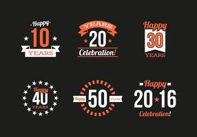 Aniversário Vintage Logos Vector