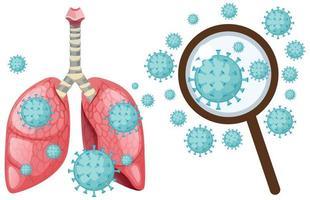 célula de coronavírus nos pulmões humanos vetor