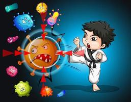 menino em traje de karatê faixa preta chutando célula de vírus