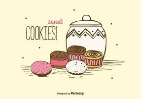 Fundo de cookies doces vetor