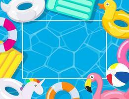 quadro de festa na piscina com carros alegóricos vetor