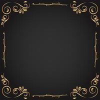 quadro decorativo folhagem dourada vetor