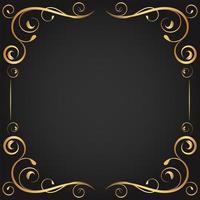 vintage ouro encaracolado floresce em moldura quadrada vetor