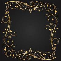 moldura quadrada de floreio floral ouro vetor