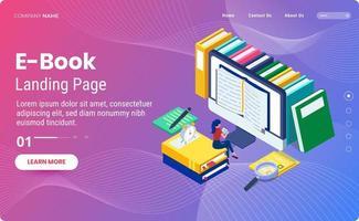 modelo de página de destino de e-book