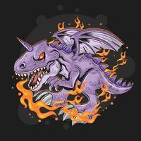 dragão roxo com chamas vetor