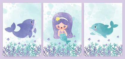 conjunto de cartão de sereia e golfinho estilo aquarela vetor
