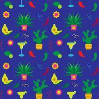 padrão sem emenda de cinco de maio cactus e margaritas vetor
