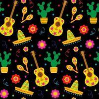 padrão sem emenda de guitarras e sombreros de cinco de maio vetor