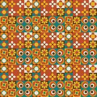 padrão sem emenda geométrico de telha floral retrô vetor