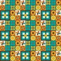 padrão sem emenda geométrico floral retrô vetor