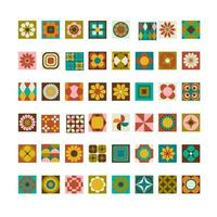 conjunto de azulejos retrô mod vetor