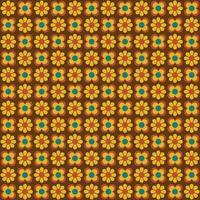 padrão sem emenda de flores retrô mod amarelo vetor