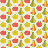 retro pêra e maçãs sem costura padrão vetor