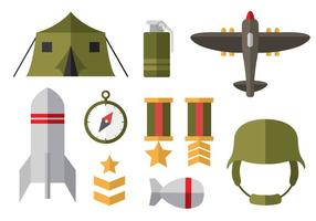 Ícones planos gratuitos da Segunda Guerra Mundial vetor