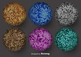 Esferas de vetores coloridos com texturas de mosaico
