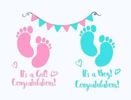 Anúncio de nascimento da pegada do bebê Vector