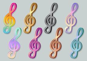 Ícones 3D do Clef agudo da chave do violino vetor