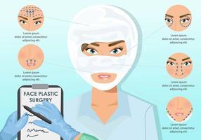 Cirurgia plástica de rosto de mulher vetor