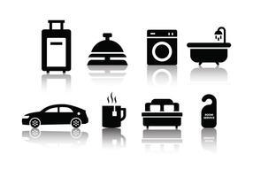 Conjunto de ícones do hotel minimalista gratuito vetor