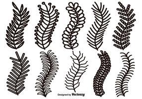 Bordas de linhas desenhadas à mão do vetor, Elementos de design Laurel vetor