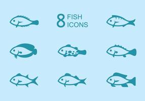 Ícones de peixe vetor