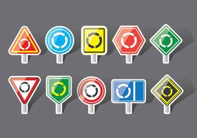 Ícones do sinal da rotunda vetor